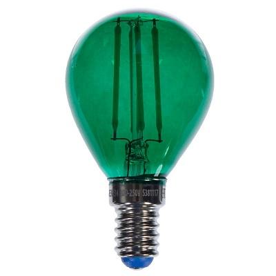 Зеленая прозрачная лампочка LED E14 5W тёплый свет (45.023)